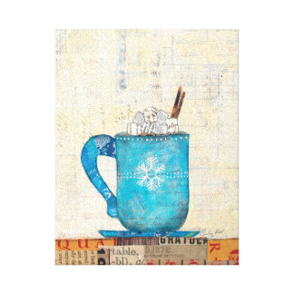 Taza azul del navidad impresion de lienzo