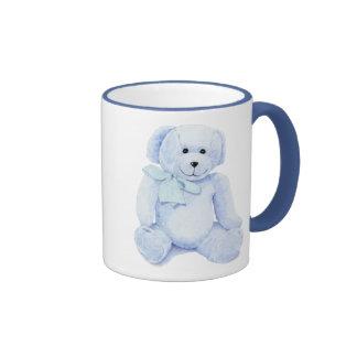 Taza azul del oso de peluche