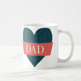 Taza azul del papá del corazón del estilo del