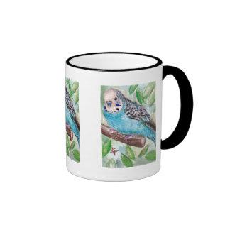 Taza azul del Parakeet