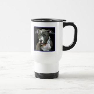 Taza azul del perrito de Pitbull
