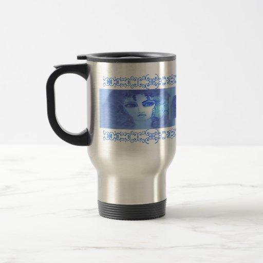 Taza azul del viaje de Devorah