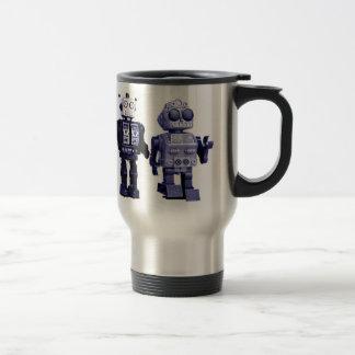 taza azul del viaje de los robots