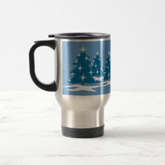 Taza azul festiva del navidad de la taza de café d