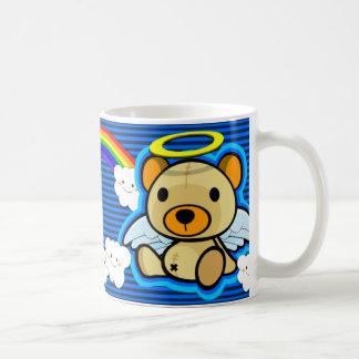 Taza azul linda del ángel del oso de peluche