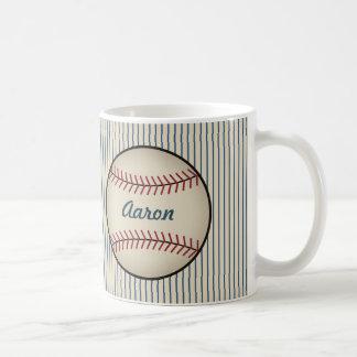 Taza azul personalizada del béisbol