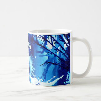 Taza azul vibrante del arte abstracto