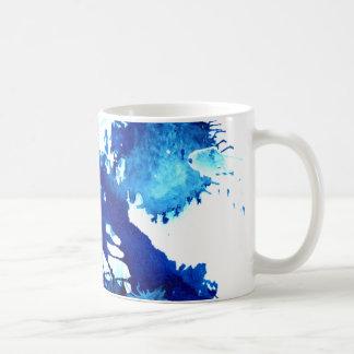 Taza azul vibrante del arte abstracto de la