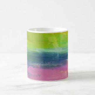 Taza azulverde de la raya de la pintura del rosa