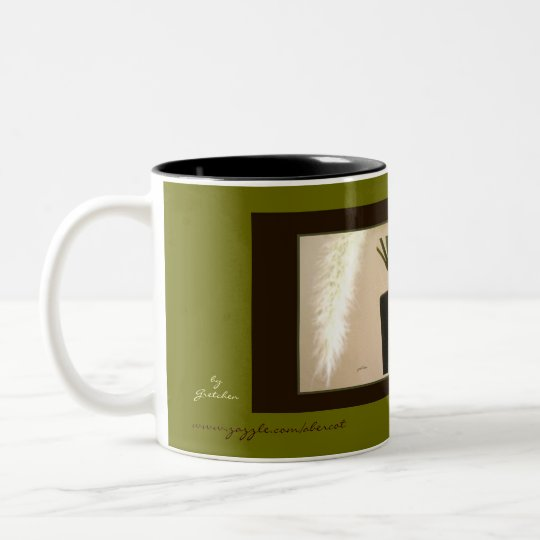 Taza, bebida - pluma y florero 3 taza de café de dos colores