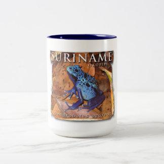 Taza bicolor con la rana azul