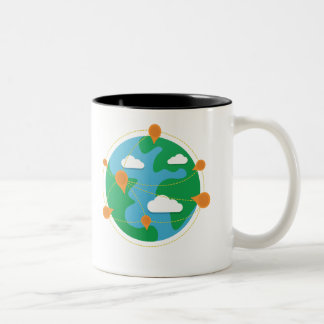 Taza bicolor del globo del día del rasguño