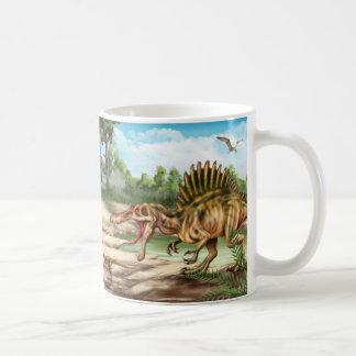 Taza blanca básica de la especie del dinosaurio