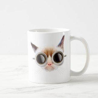 Taza blanca básica del gato del café