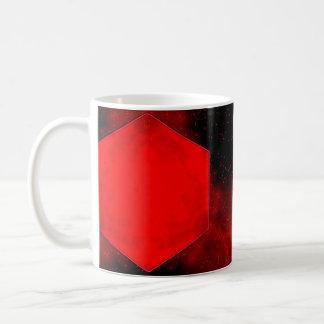 Taza blanca clásica abstracta moderna negra roja