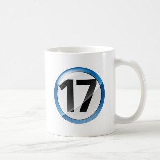 taza blanca clásica azul 17