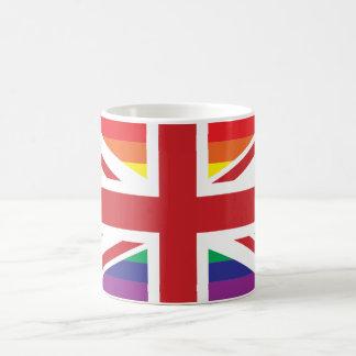 Taza blanca clásica BRITÁNICA del GAY (BANDERA