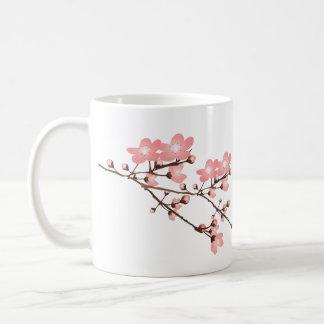 Taza blanca clásica de la flor de cerezo rosada