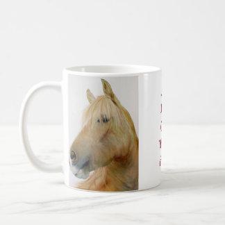 taza blanca clásica del caballo del fineart