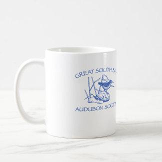 Taza blanca con el logotipo azul