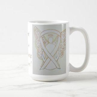Taza blanca de Anti-Acecho del ángel de la cinta
