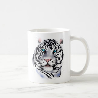 Taza blanca de la cara del tigre