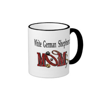 Taza blanca de la mamá del pastor alemán