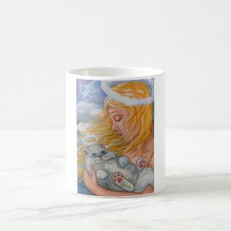 Taza blanca del ángel del gato persa del CIELO del