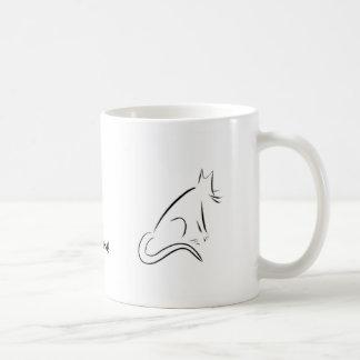 Taza blanca del gato del zen