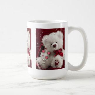 Taza blanca del oso de peluche