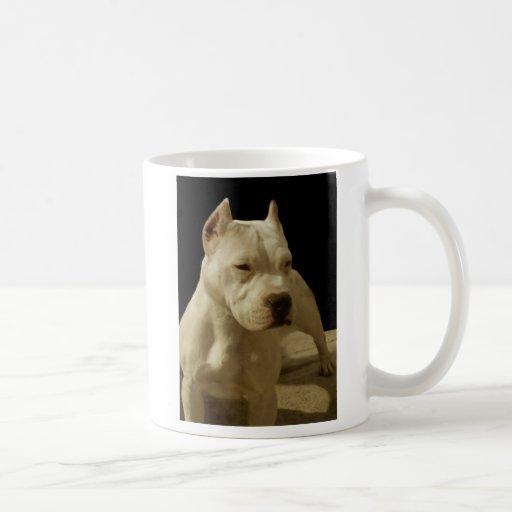 Taza blanca del pitbull