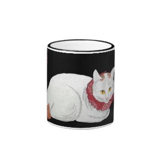 Taza blanca del regalo del gato del vintage