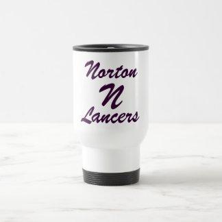 Taza blanca del viaje de los lanceros de Norton