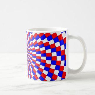 Taza blanca espiral azul blanca roja