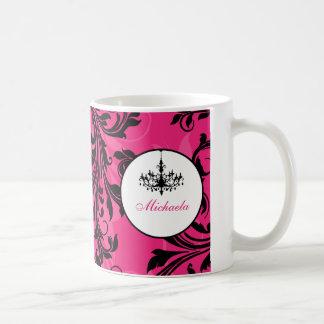 Taza blanca negra rosada de la voluta de la lámpar