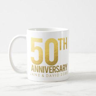 Taza blanca personalizada aniversario del oro 50.o