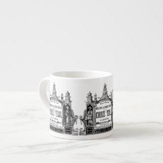 taza blanco y negro de la taza de la etiqueta del taza espresso