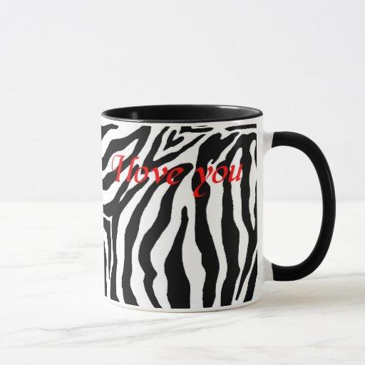 Taza blanco y negro del estampado de zebra te amo