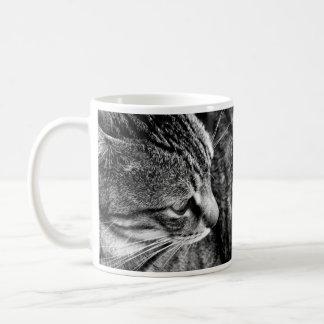 Taza blanco y negro del gato