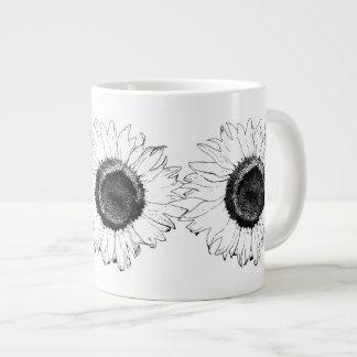 Taza blanco y negro del jumbo del girasol taza grande