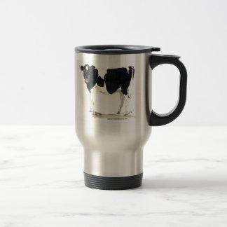 taza blanco y negro del viaje de la vaca