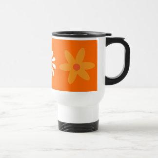 Taza bonita del viaje del naranja y blancas de las