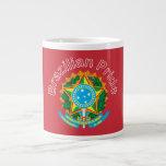 Taza brasileña del jumbo del escudo de armas tazas jumbo