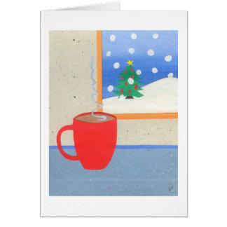 Taza caliente de té tarjeta de felicitación