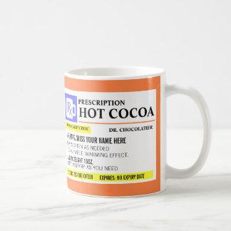 Taza caliente del cacao de la prescripción diverti