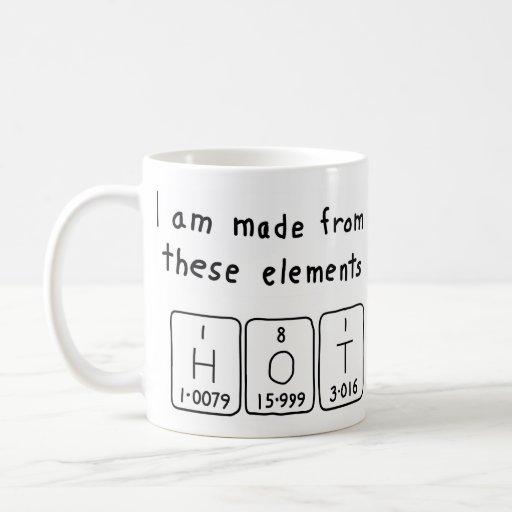 Taza caliente del nombre de la tabla periódica
