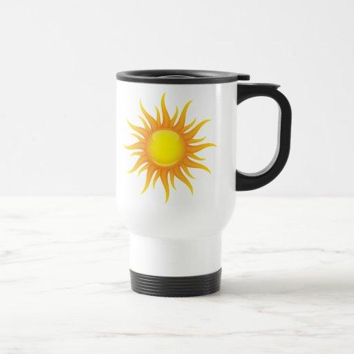 Taza caliente llameante del viaje del sol del vera