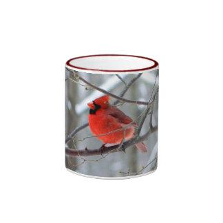 Taza cardinal roja del invierno