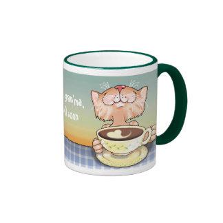 Taza cariñosa del Tabby del café