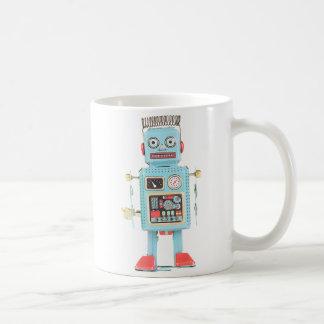 Taza china retra del robot de la lata del vintage